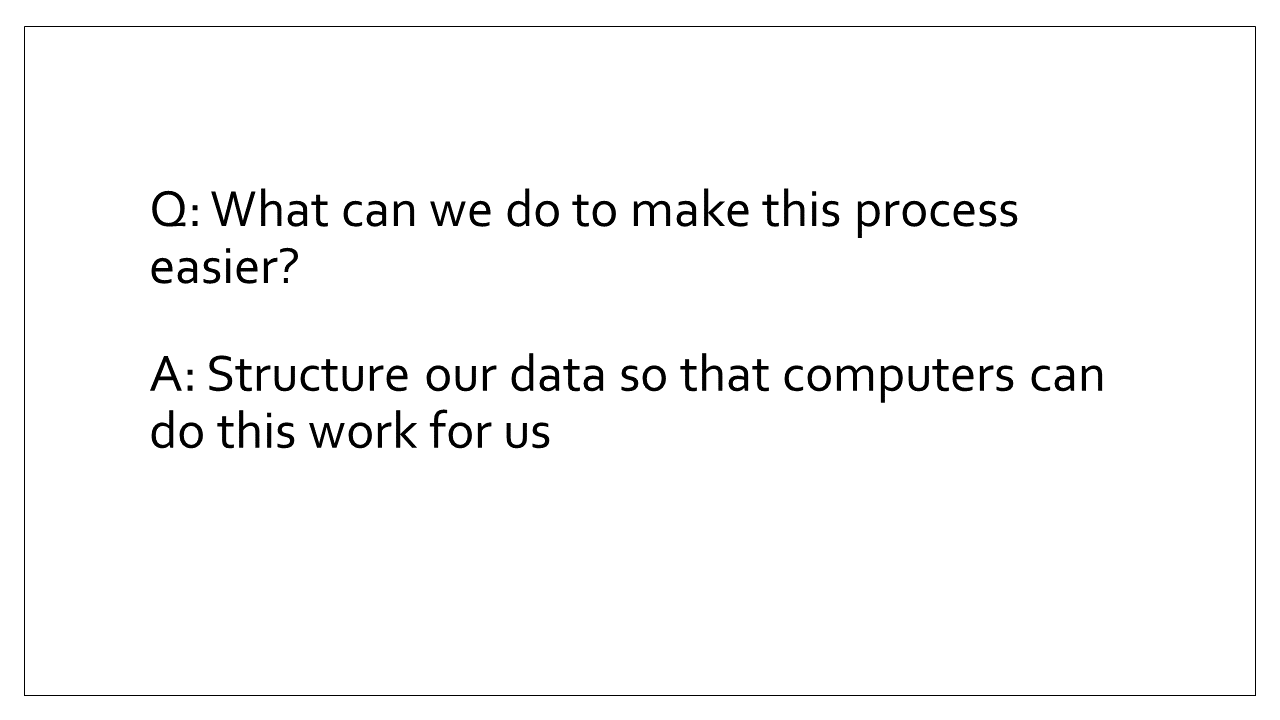 Slide 8 - A: Structure our data so that computers can do this work for us